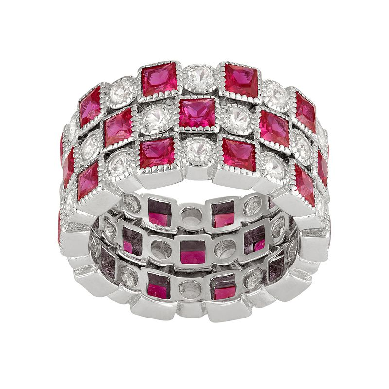 David Tutera Sterling Silver Lab-Created Ruby & White Sapphire Stack Ring Set