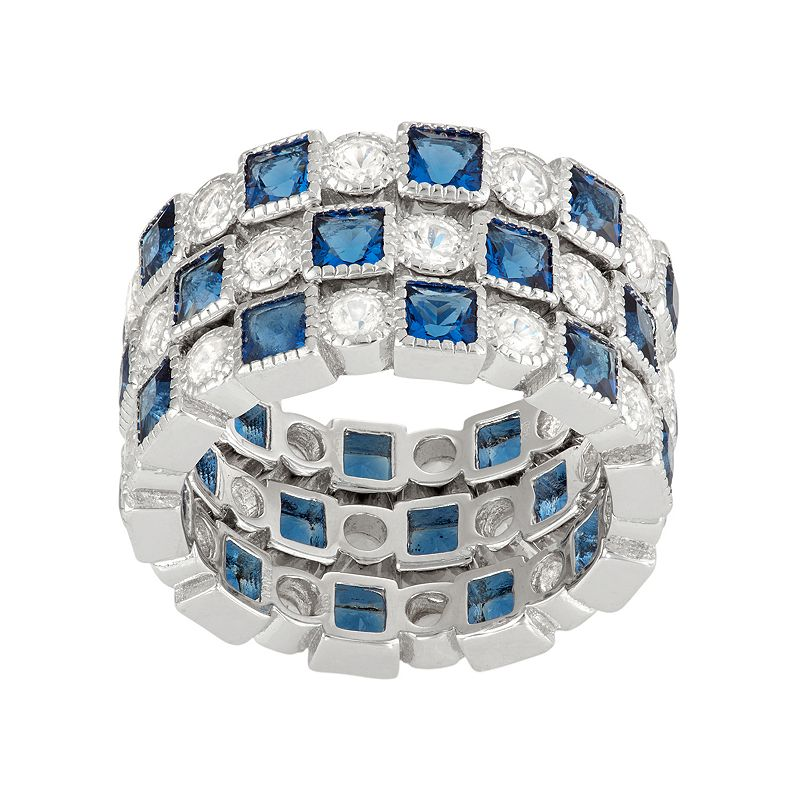 David Tutera Sterling Silver Simulated Blue Sapphire & Lab-Created White Sapphire Stack Ring Set