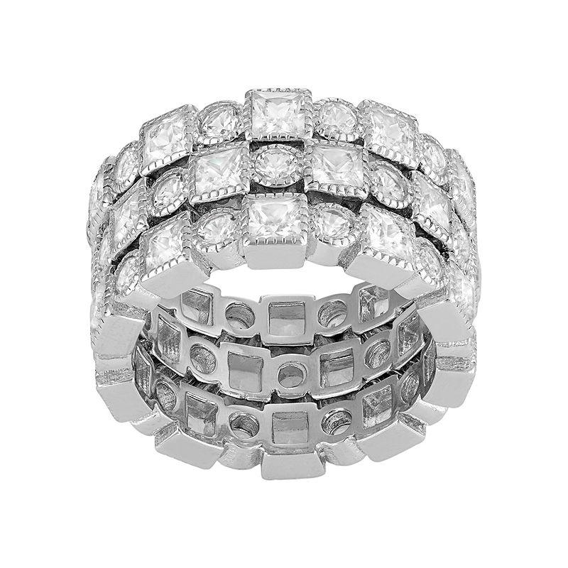 David Tutera Sterling Silver Lab-Created White Sapphire Stack Ring Set