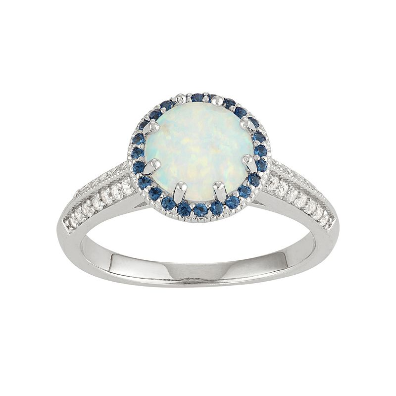 David Tutera Sterling Silver Gemstone Halo Ring