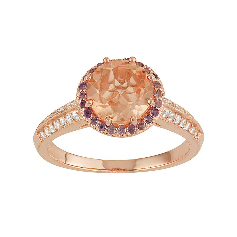 David Tutera 14k Rose Gold Over Silver Gemstone Halo Ring