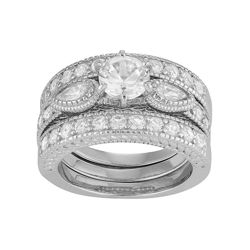 David Tutera Sterling Silver Lab-Created White Sapphire Engagement Ring Set