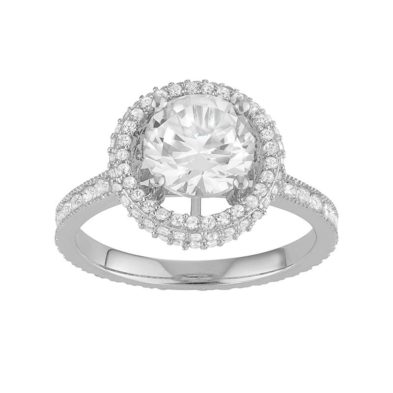 David Tutera Sterling Silver Lab-Created White Sapphire Halo Engagement Ring
