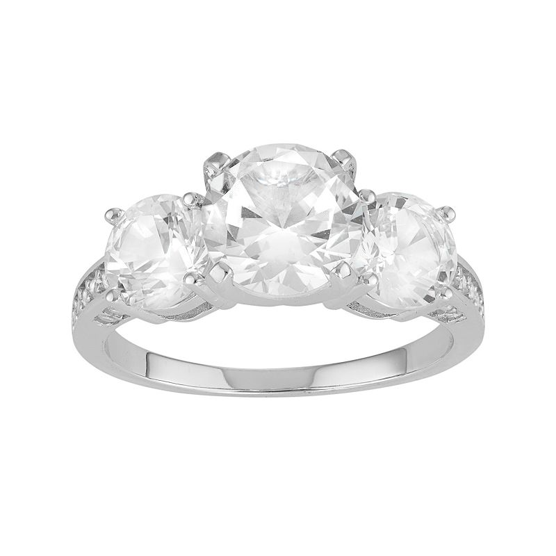 David Tutera Sterling Silver Lab-Created White Sapphire 3-Stone Engagement Ring