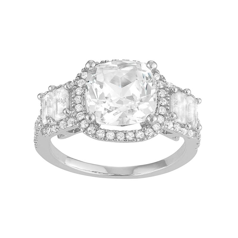 David Tutera Sterling Silver Lab-Created White Sapphire 5-Stone Halo Engagement Ring