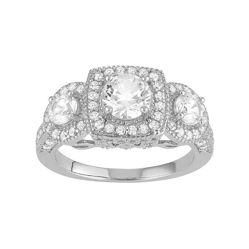 David Tutera Sterling Silver Lab-Created White Sapphire 3-Stone Halo Engagement Ring