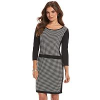 Petite Chaps Houndstooth Sweaterdress