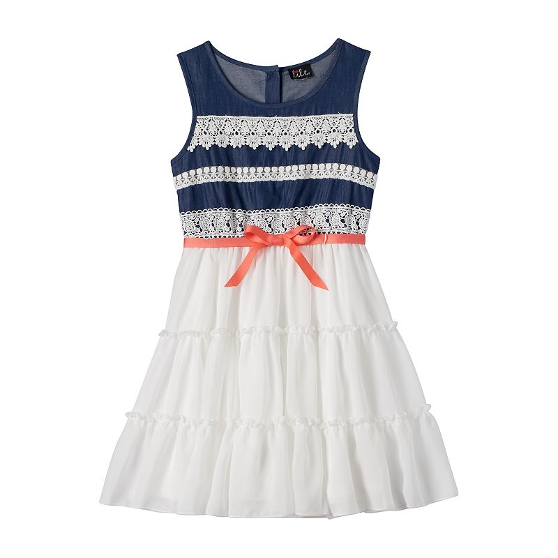 Girls 7-16 & Plus Size lilt Denim Crochet Tiered Dress