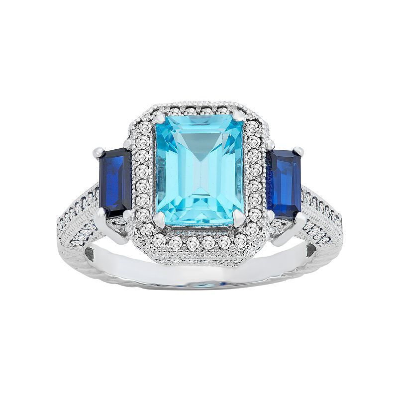 David Tutera Sterling Silver Blue Topaz & Simulated Sapphire Rectangle Halo Ring