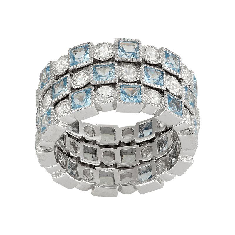 David Tutera Sterling Silver Lab-Created Aquamarine & White Sapphire Stack Ring Set