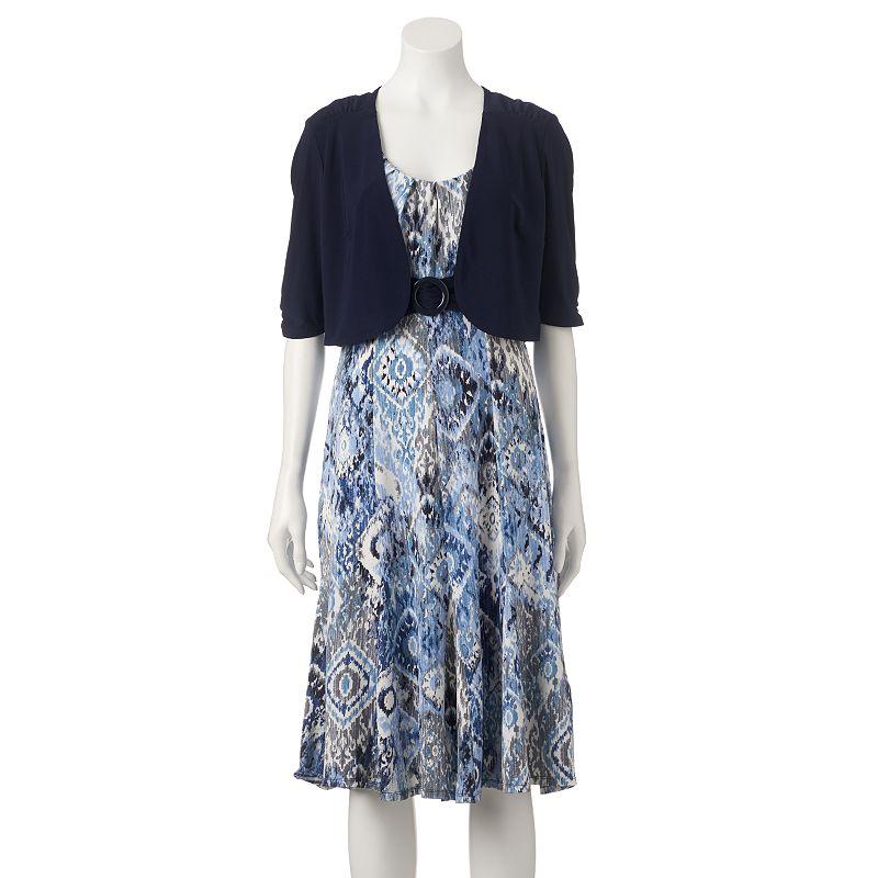 Women's Perceptions Ruched Empire Dress & Shrug Set