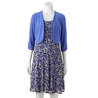 Women's Perceptions Floral Lace Dress & Shrug Set
