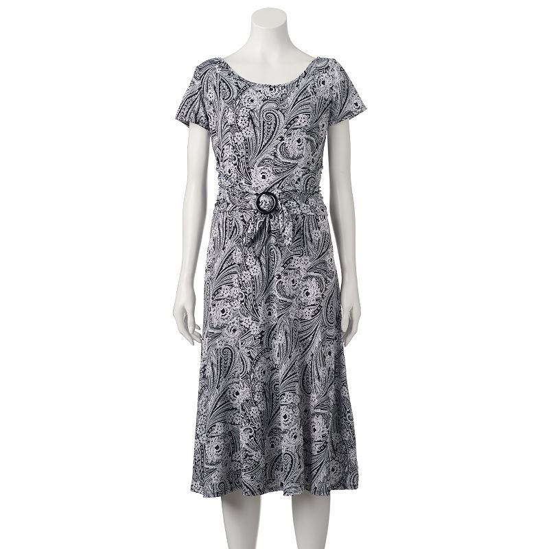 Women's Perceptions Ruched Paisley Midi Dress