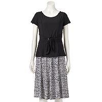Women's Perceptions Top & Print Skirt Set