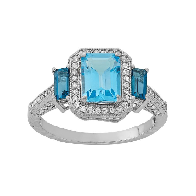 David Tutera Sterling Silver Blue Topaz & Lab-Created White Sapphire 3-Stone Ring