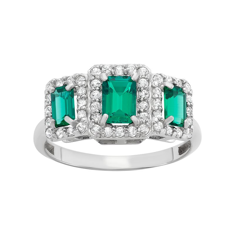 David Tutera Sterling Silver Simulated Emerald & Lab-Created White Sapphire 3-Stone Ring