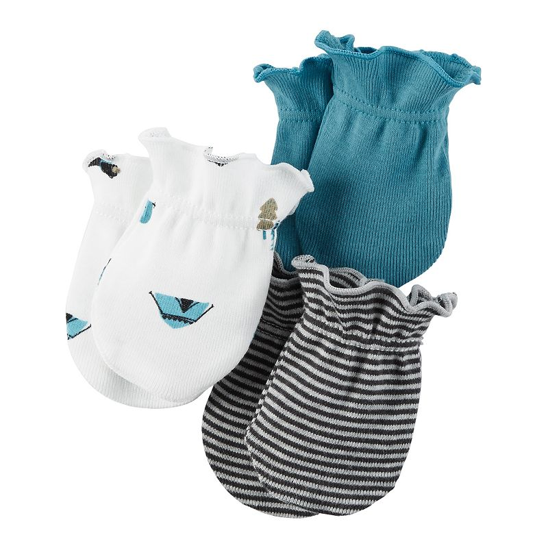 Baby Boy Carter's 3-pk. Woodland & Striped Baby Mitts