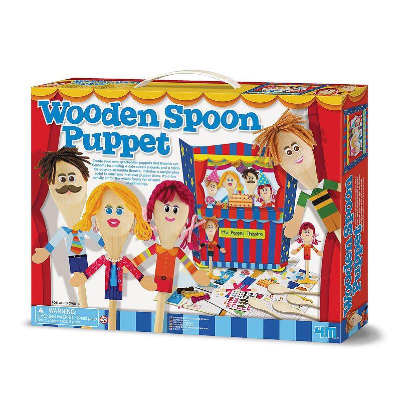 Toysmith 4M Wooden Spoon Puppet Theatre Playset & Craft Kit