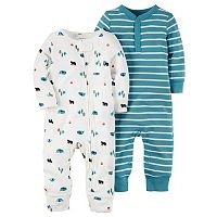 Baby Boy Carter's 2pk. Woodland & Striped Coveralls