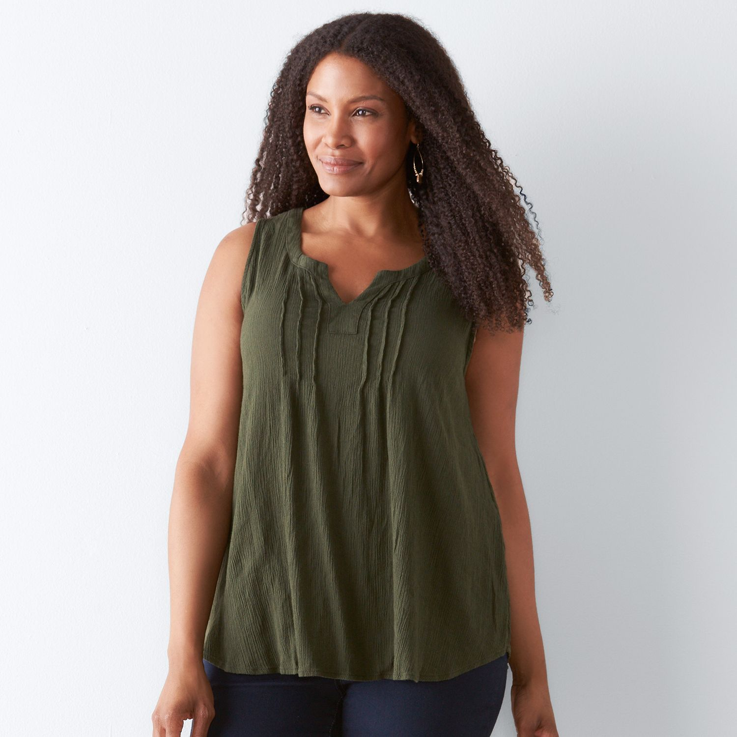 Plus Size SONOMA Goods for Life? Crepe Swing Tank
