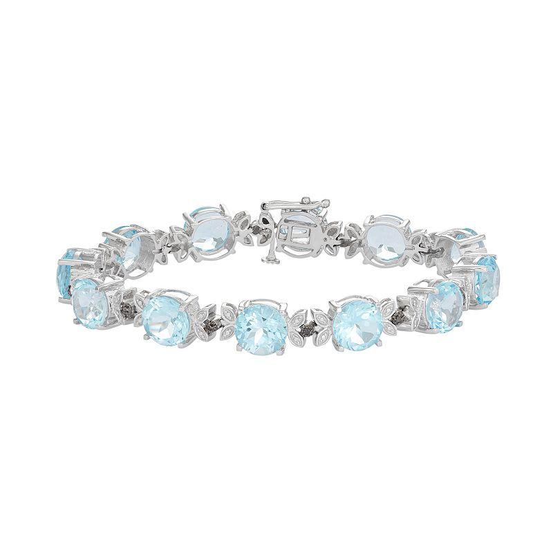 Sterling Silver Sky Blue Topaz & Black Diamond Accent Leaf Bracelet