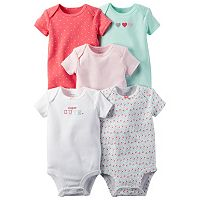 Baby Girl Carter's 5-pk. Print & Embroidered Bodysuits