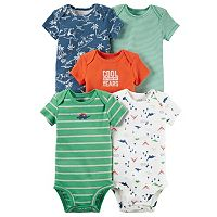 Baby Boy Carter's 5-pk. Dino & Striped Bodysuits