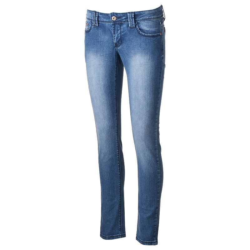 Juniors' Angels Embroidered Faded Denim Skinny Jeans