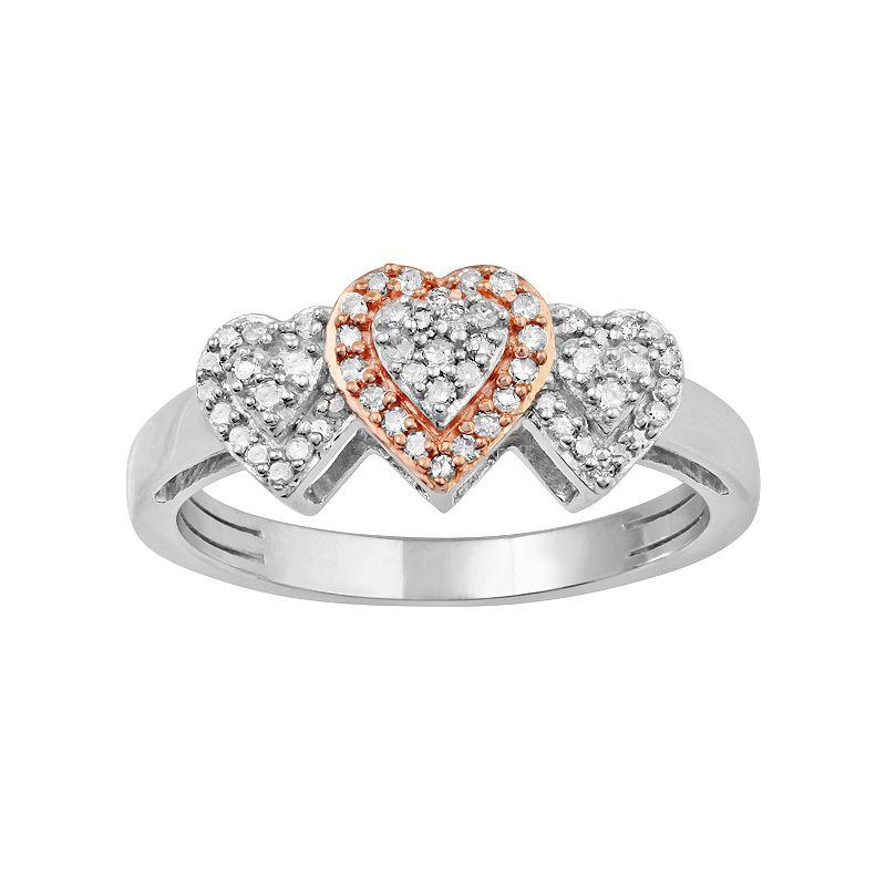 Two Tone 10k White Gold 1/4 Carat T.W. Diamond Heart Halo Ring