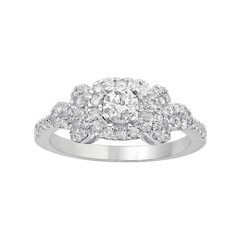14k White Gold 3/4 Carat T.W. Diamond Bow Ring