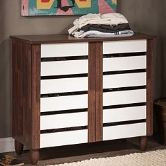 Baxton Studio Gisela Two-Tone Shoe Cabinet by