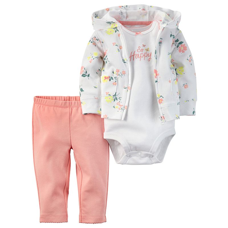 Baby Girl Carter's Floral Cardigan, Bodysuit & Pants Set