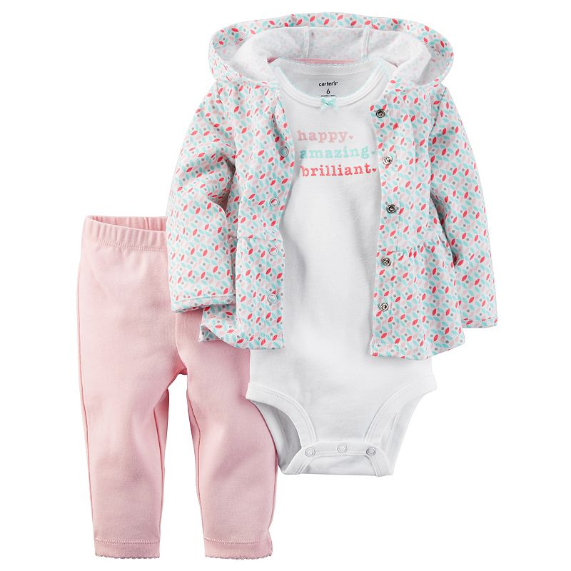 Baby Girl Carter's 3-pc. Petal Cardigan, Bodysuit & Pants Set