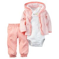 Baby Girl Carter's Geometric Cardigan, Bodysuit & Pants Set