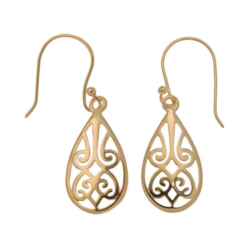 24k Gold-Over-Sterling Silver Filigree Teardrop Earrings