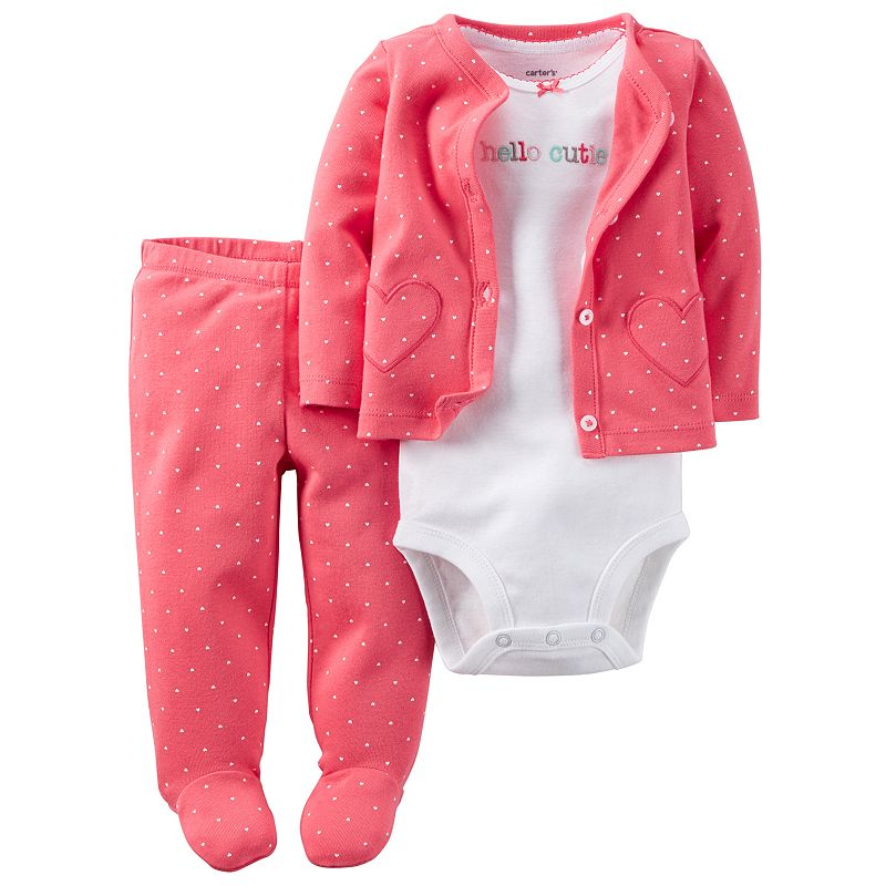 Baby Girl Carter's Heart Cardigan, Bodysuit & Pants Set
