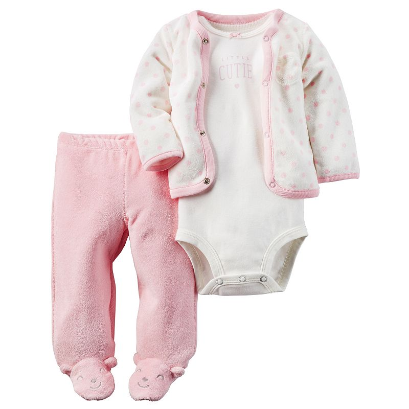 Baby Girl Carter's Polka-Dot Cardigan, Bodysuit & Pants Set