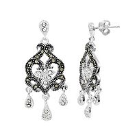 Le Vieux Silver-Plated Marcasite & Crystal Chandelier Earrings
