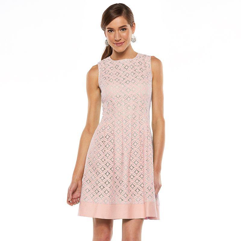 Women's Jessica Howard Lace Pleated A-Line Dress