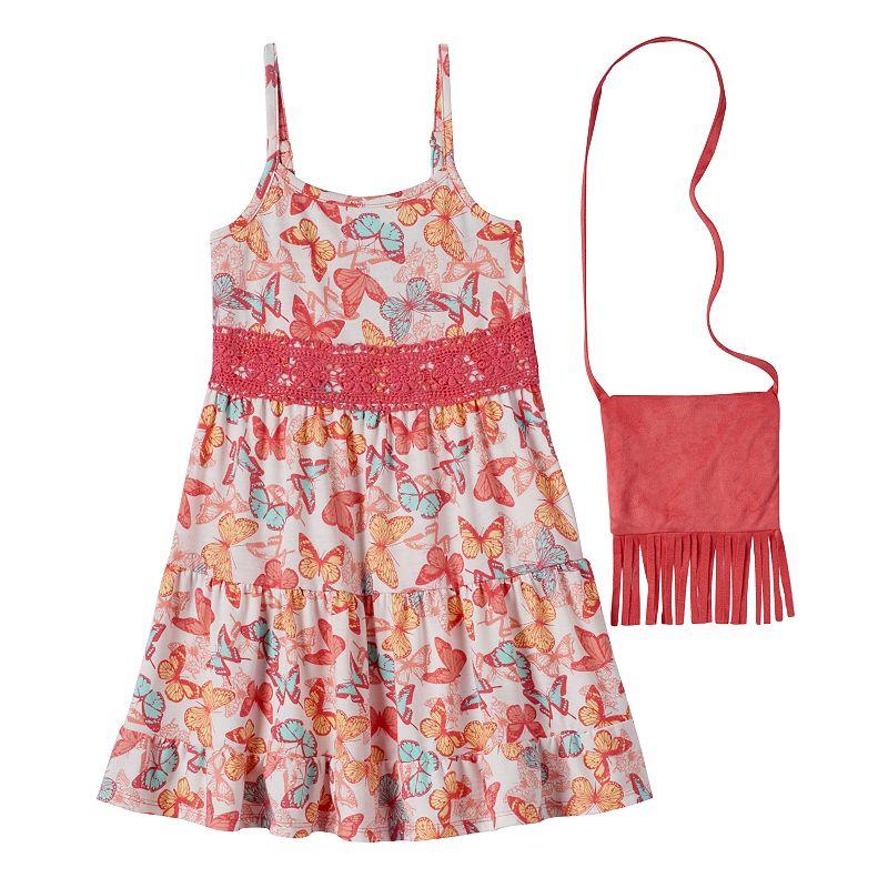 Girls 4-6x Knitworks Crochet Lace Dress with Fringe Crossbody Bag