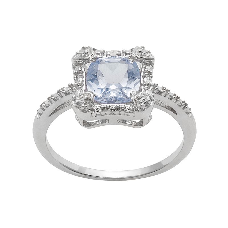 RADIANT GEM Sterling Silver Simulated Aquamarine & Diamond Accent Halo Ring