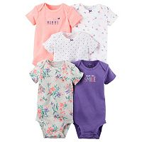 Baby Girl Carter's 5-pk. Pink & Purple Graphic Bodysuits