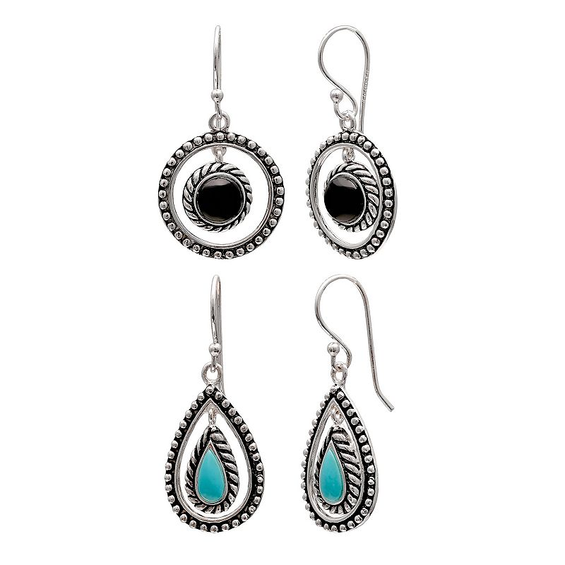 Sterling Silver Lab-Created Onyx & Simulated Turquoise Hoop Drop & Teardrop Earring Set
