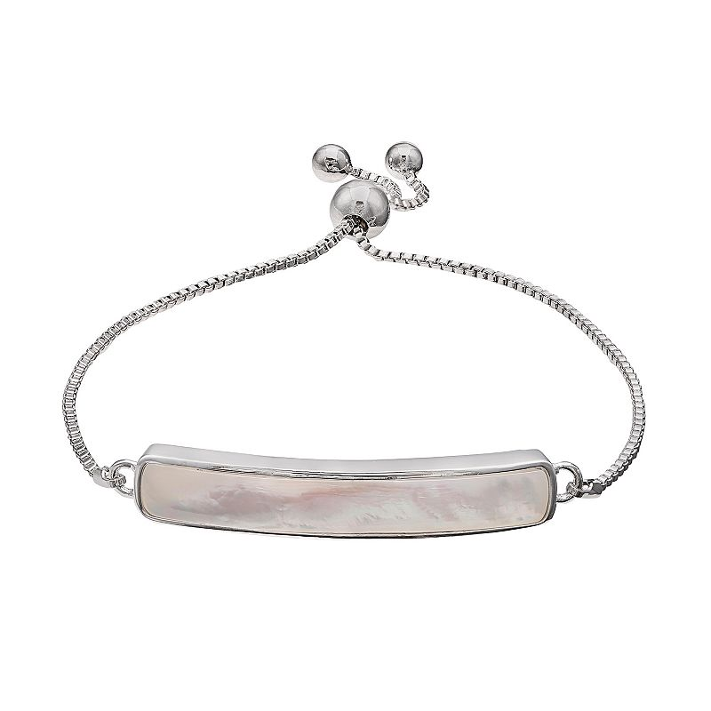 Sterling Silver Simulated Mother-of-Pearl Bar Link Lariat Bracelet
