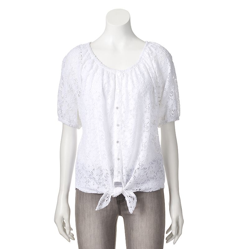 Women's French Laundry Lace Peasant Top