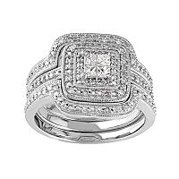 Sterling Silver 1/3 Carat T.W. Diamond Square Halo Engagement Ring Set