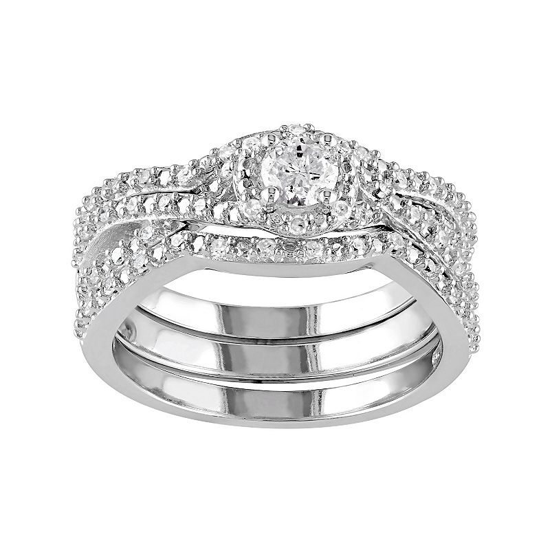 Sterling Silver 1/2 Carat T.W. Diamond Halo Engagement Ring Set