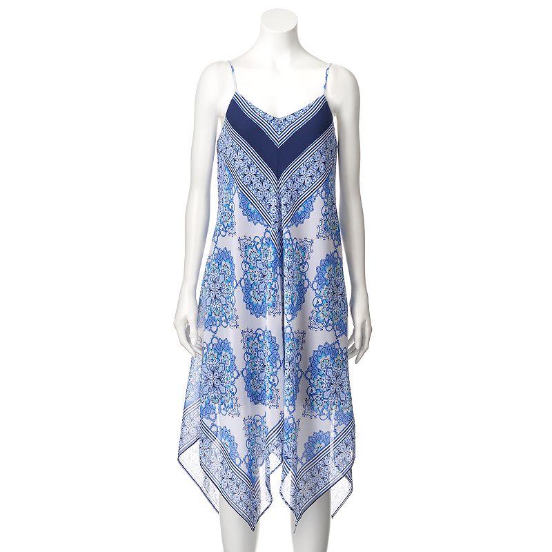 Women's Luxology Print Handkerchief Midi Dress