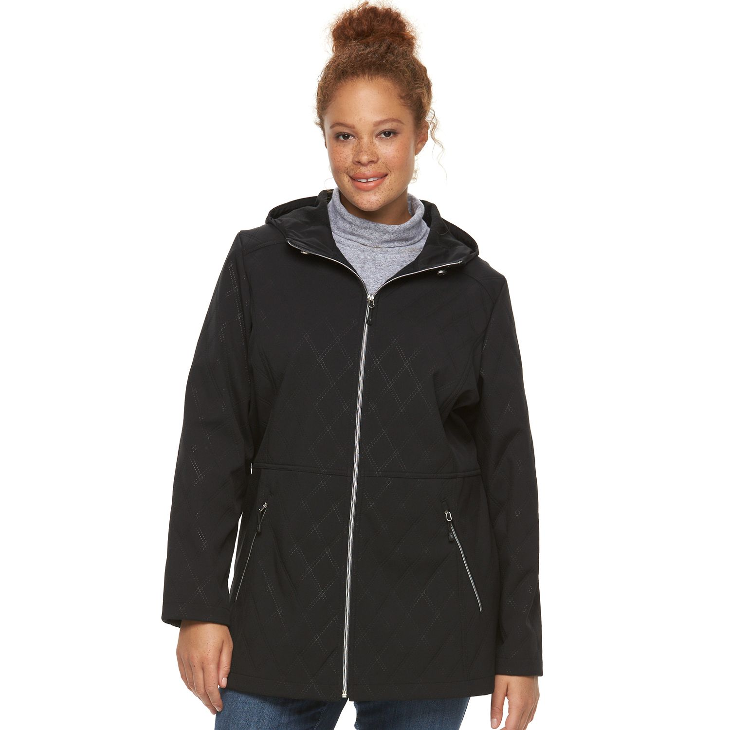 Womens Free Country Raven Hooded Long Soft Shell Jacket