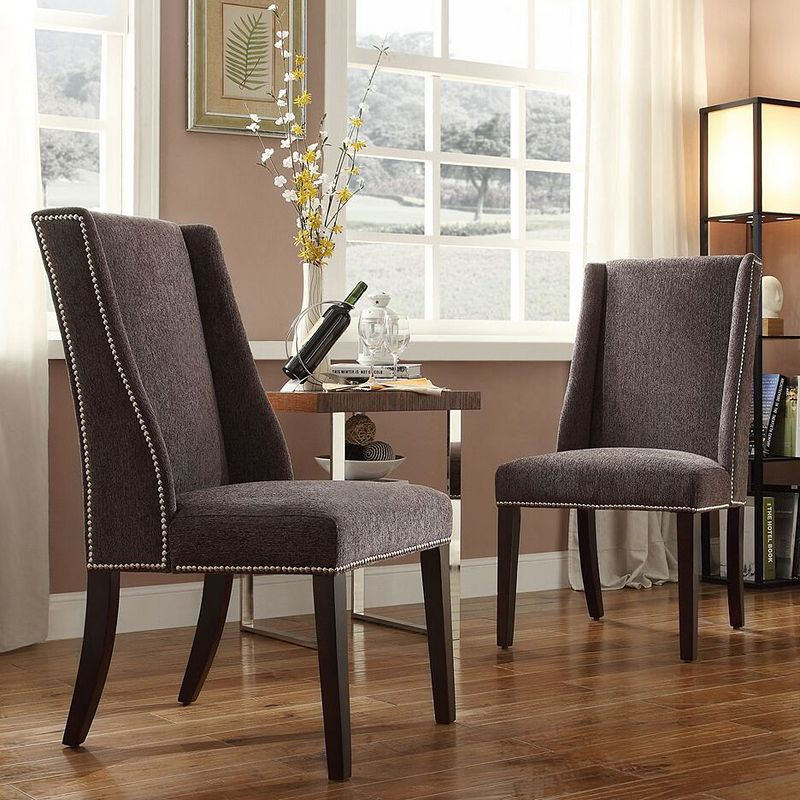 HomeVance Penelope Linen Wingback Hostess Arm Chair 2-piece Set